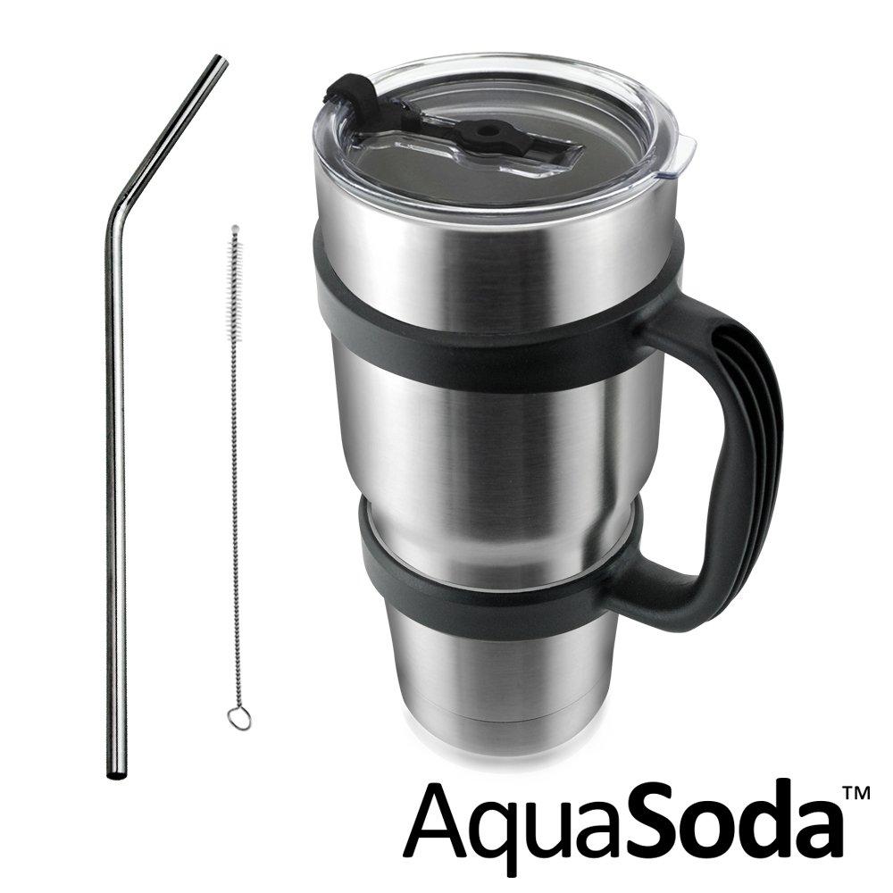 美國AquaSoda 304不鏽鋼雙層保溫保冰杯(含杯架超值組合)