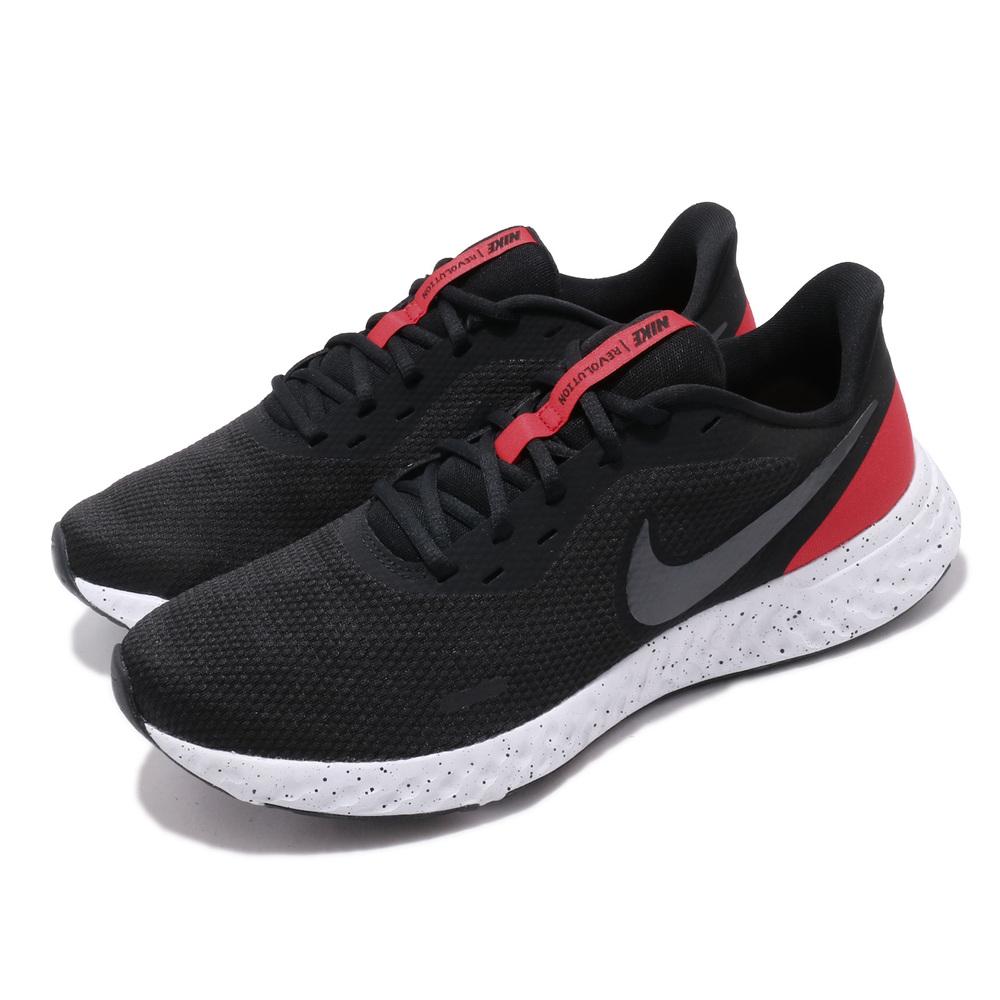 NIKE 慢跑鞋 Revolution 5 運動 男鞋 輕量 透氣 舒適 避震 路跑 健身 黑 紅 [BQ3204-003]