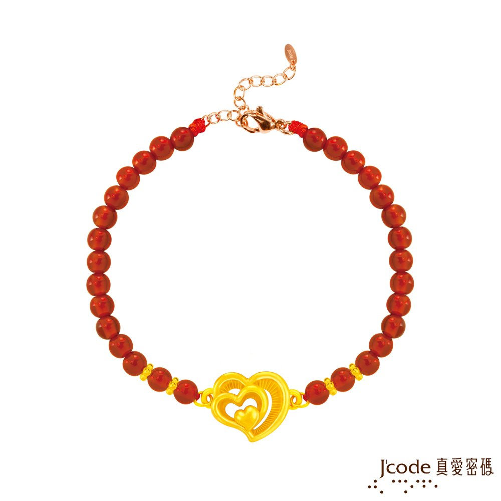 J'code真愛密碼 真愛-擁抱愛黃金/紅瑪瑙手鍊-立體硬金款