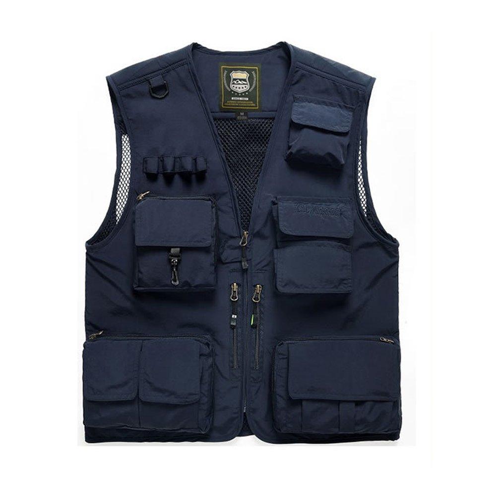 PUSH!戶外休閒用品多功能15口袋背心夾克F25藏青