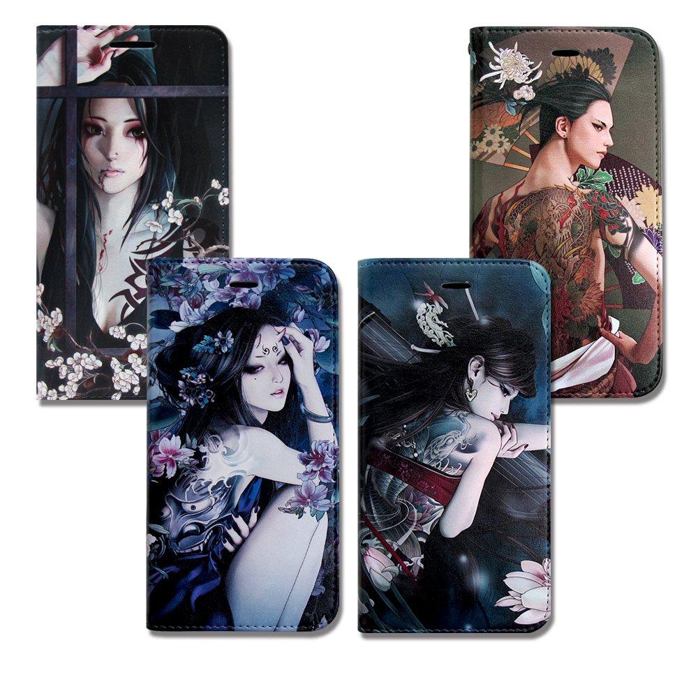 張小白正版授權 Samsung Galaxy C9 Pro 6吋 古典奇幻 插畫磁扣皮套(菊)