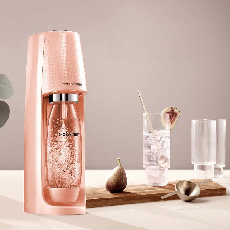 Sodastream Spirit 自動扣瓶氣泡水機(珊瑚橘)送好好帶水瓶+糖漿(口味顏色隨機)