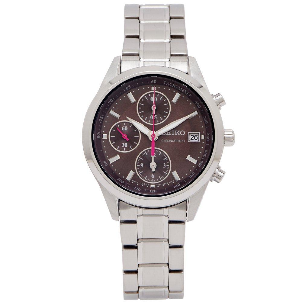 SEIKO 專屬女性時尚風計時手錶(SNDV55P1)-咖啡色面X銀色/36mm