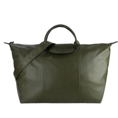 LONGCHAMP Le Pliage Cuir 系列小羊皮寬背帶短把折疊旅行包(墨綠)