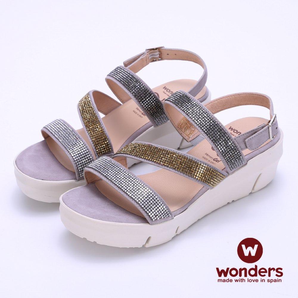 WONDERS -FLY系列 三色亮麗水鑽後帶楔型涼鞋-銀色 913123GZ-02