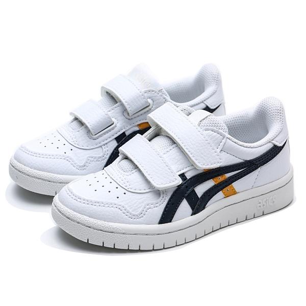 ASICS 休閒鞋 JAPANS 白 藍黃LOGO 黏帶 皮革 基本款 中童 (布魯克林) 1194A077102