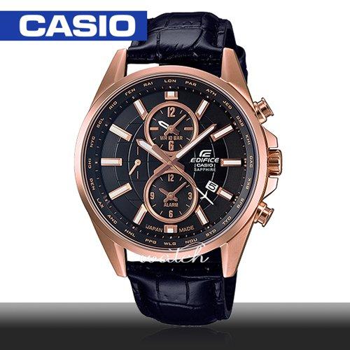 【CASIO 卡西歐 EDIFICE 系列】日系搶眼設計 藍寶石水晶 多重指針 時尚紳士腕錶(EFB-302JGL)