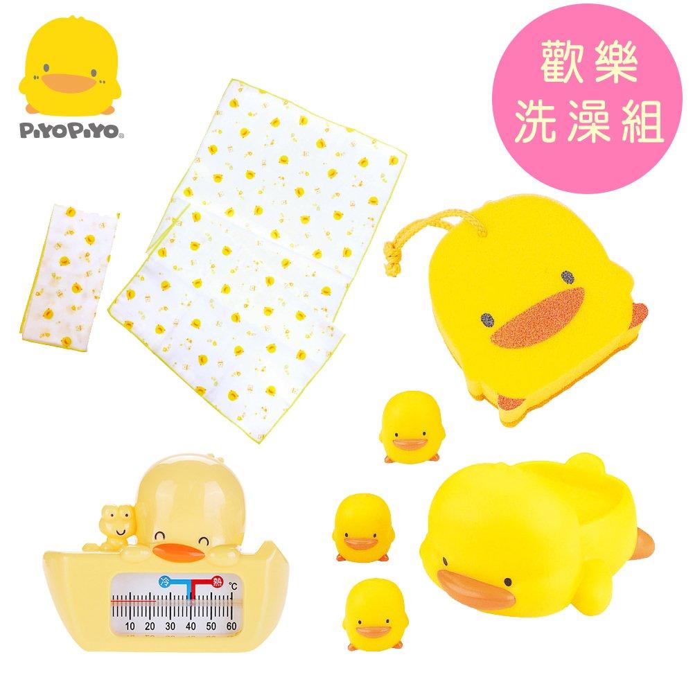 黃色小鴨《PiyoPiyo》嬰幼兒沐浴海棉+印花紗巾澡巾(2入)+兩用水溫計+水中有聲玩具組(4入)