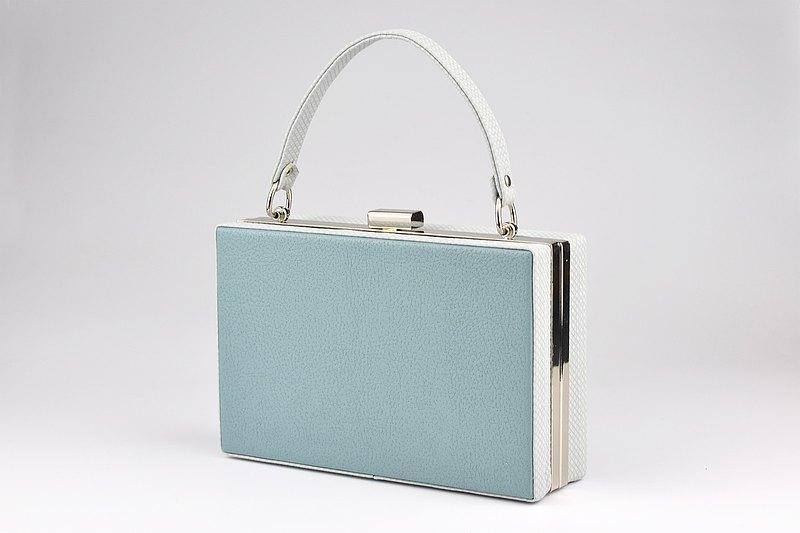 简约时尚手提包 晚宴包 迷你手提箱 粉藍/綠色