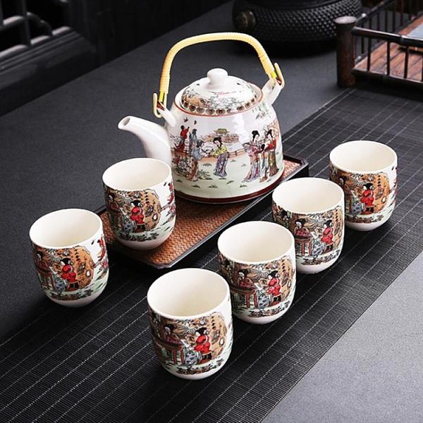 餐廳酒店飯店專用陶瓷茶壺帶過濾網大號提梁壺禮盒套裝 【母親節禮物】