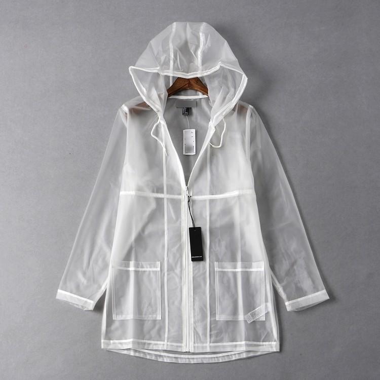 可以當外套 透明時尚連帽中長款雨披雨衣1入