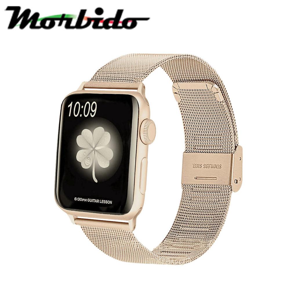 Morbido蒙彼多 Apple Watch 42mm不鏽鋼編織卡扣式錶帶 復古金