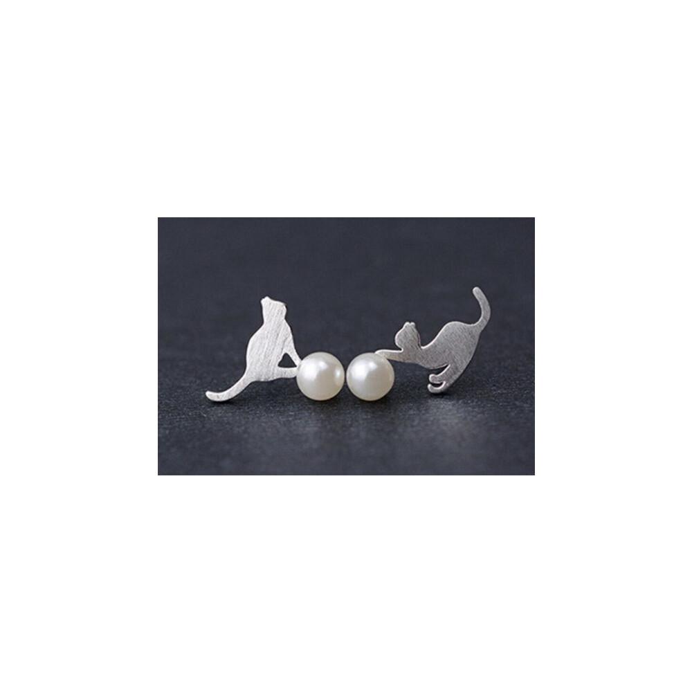 珍珠喵咪925純銀 耳針1對十方