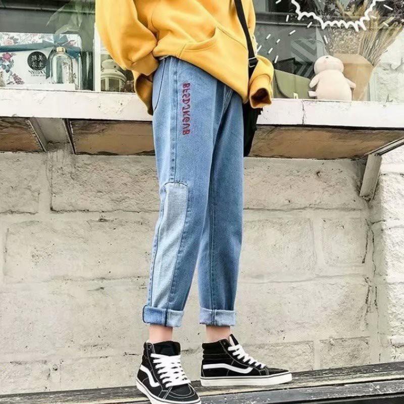 丹寧褲 潮牌牛仔褲 牛仔褲男 小腳寬鬆褲 長褲 日系牛仔褲 休閒褲 男生衣著(BEK01)【壹號站】