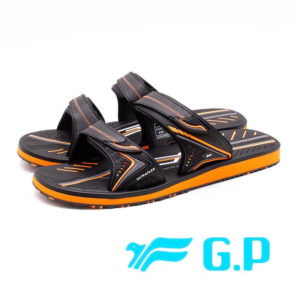 G.P高彈性厚底舒適雙帶止滑拖鞋 男鞋-橘(另有藍/綠)