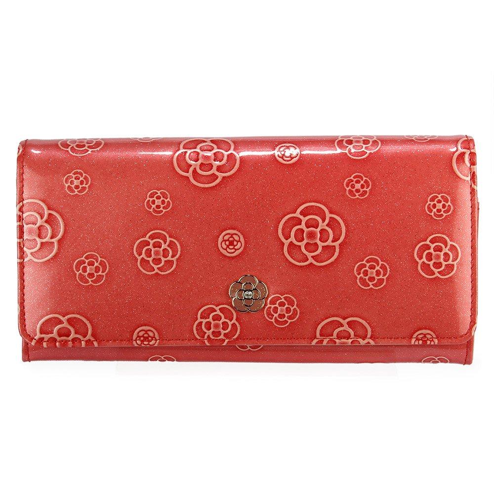 CLATHAS 日本小香奈兒亮面漆皮壓釦長夾-粉紅色 200102-35