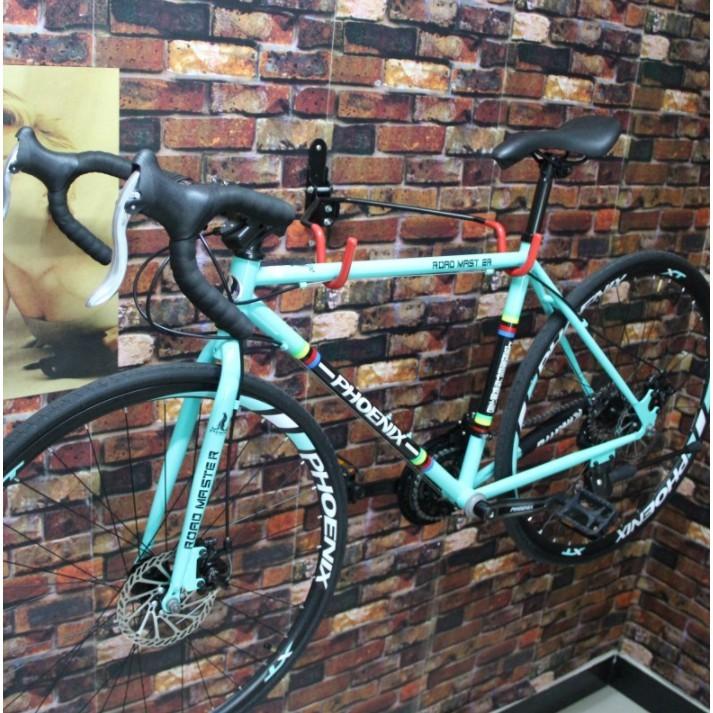 自行車展示架 停車架 雙鈎 牆壁挂鈎 單車挂架 車店用展示 - 加粗大鈎可調節傾斜角度車架