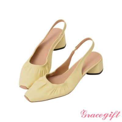 Grace gift-方頭抓皺後空中跟鞋 淺黃