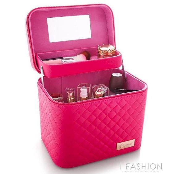 大容量韓國化妝包女多功能層小號網紅便攜手提化妝品收納盒簡約箱