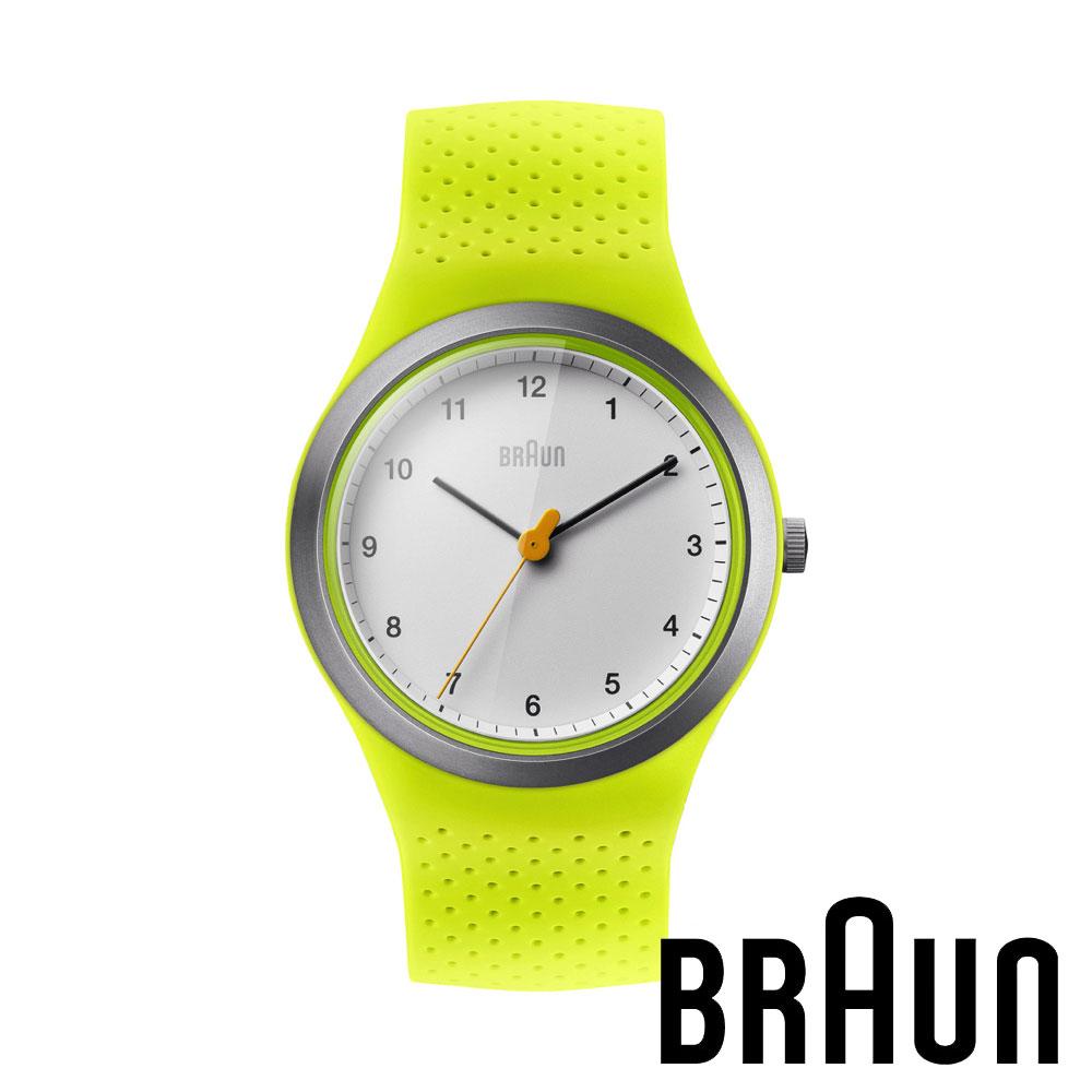 BRAUN德國百靈 經典簡約矽膠錶 防水運動錶 白錶盤 (螢光綠/45mm/BN0111WHGRL)