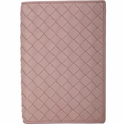 BOTTEGA VENETA 小羊皮編織五卡卡夾/護照夾(粉色)