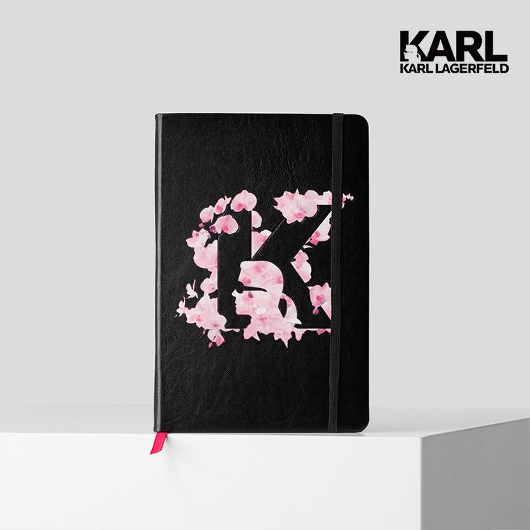 【KARL LAGERFELD】花卉K字剪影筆記本-黑