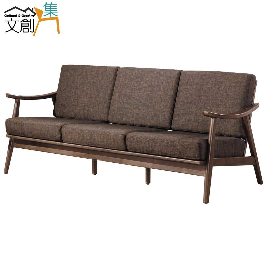【文創集】班加西 時尚亞麻布實木三人座沙發椅(二色可選+3人座)