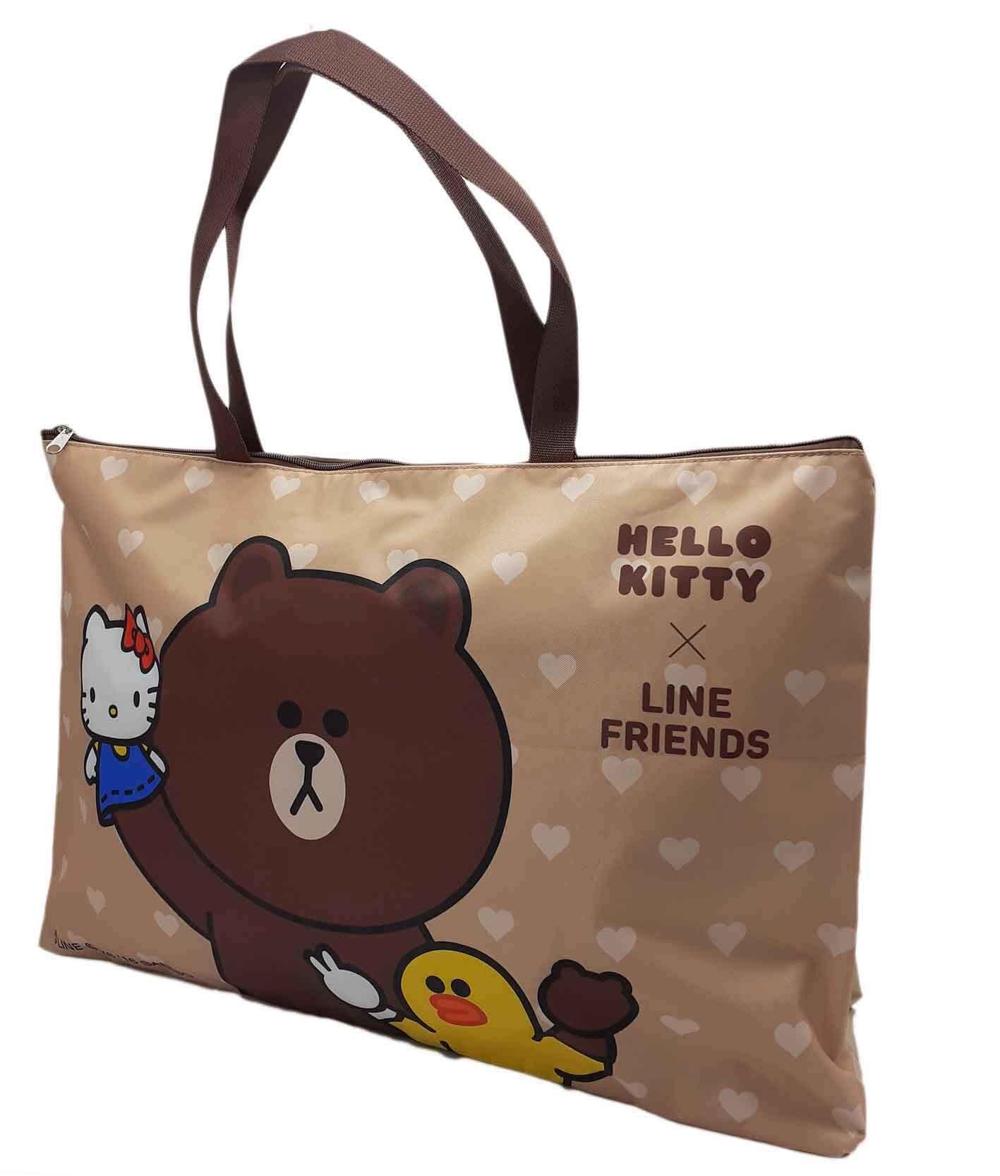 Hello kitty x Line毛毯收納袋(咖啡)