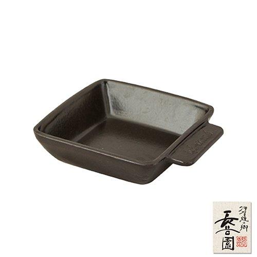 【日本長谷園伊賀燒】黑釉方形烤盤