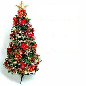 摩達客-超級幸福10尺/10呎(300cm)一般型裝飾綠聖誕樹(+紅金色系配件組+100燈LED燈6串)