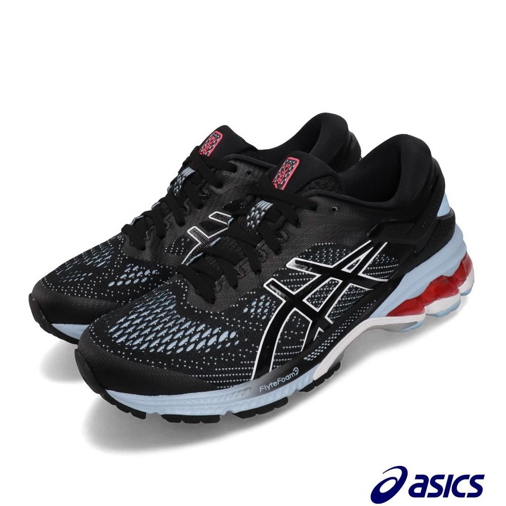 ASICS 慢跑鞋 Gel-Kayano 26 運動 女鞋 亞瑟士 路跑 FlyteFoam 亞瑟膠 黑 藍 [1012A457003]