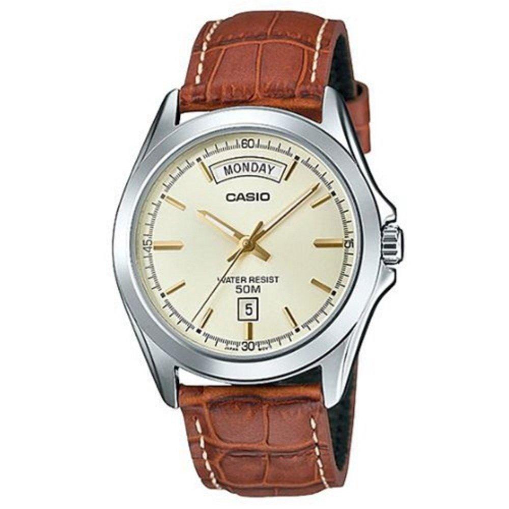 【CASIO卡西歐】引領時尚必備款皮帶腕錶-米色 (MTP-1370L-9A)