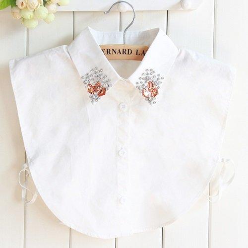 【米蘭精品】假領子襯衫領片-水晶鑲鑽尖領純棉女裝配件73vk43
