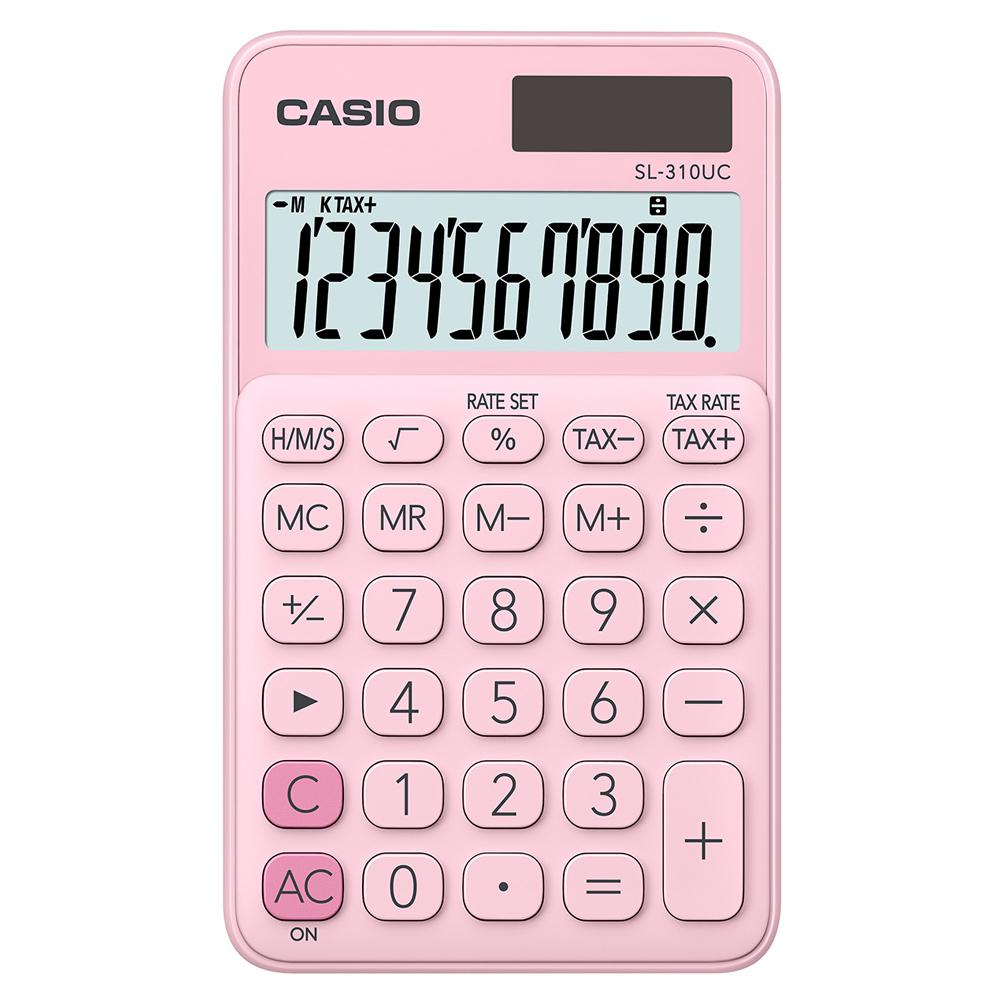 CASIO卡西歐 10位元甜美馬卡龍輕巧口袋型計算機-草莓粉 (SL-310UC-PK)