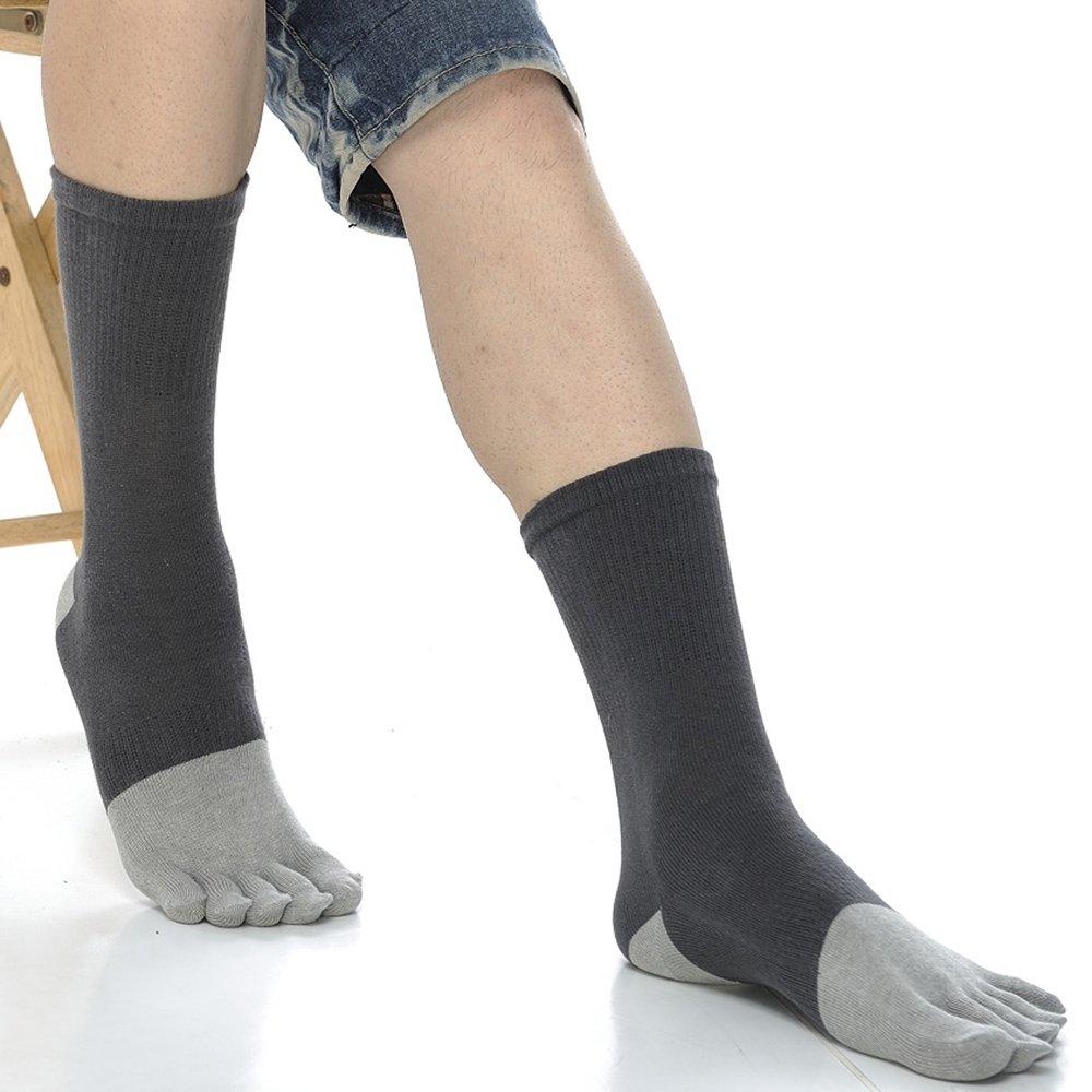 【KEROPPA】可諾帕吸濕排汗竹炭保健1/2五趾男襪x2雙C90009-深灰配灰色