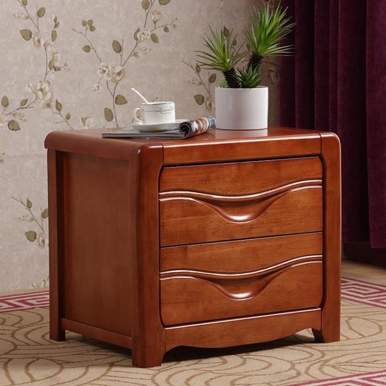 鉅惠夯貨-床頭櫃 收納櫃 實木床頭櫃整裝收納儲物臥室帶鎖迷你胡桃橡木簡約現代中式40