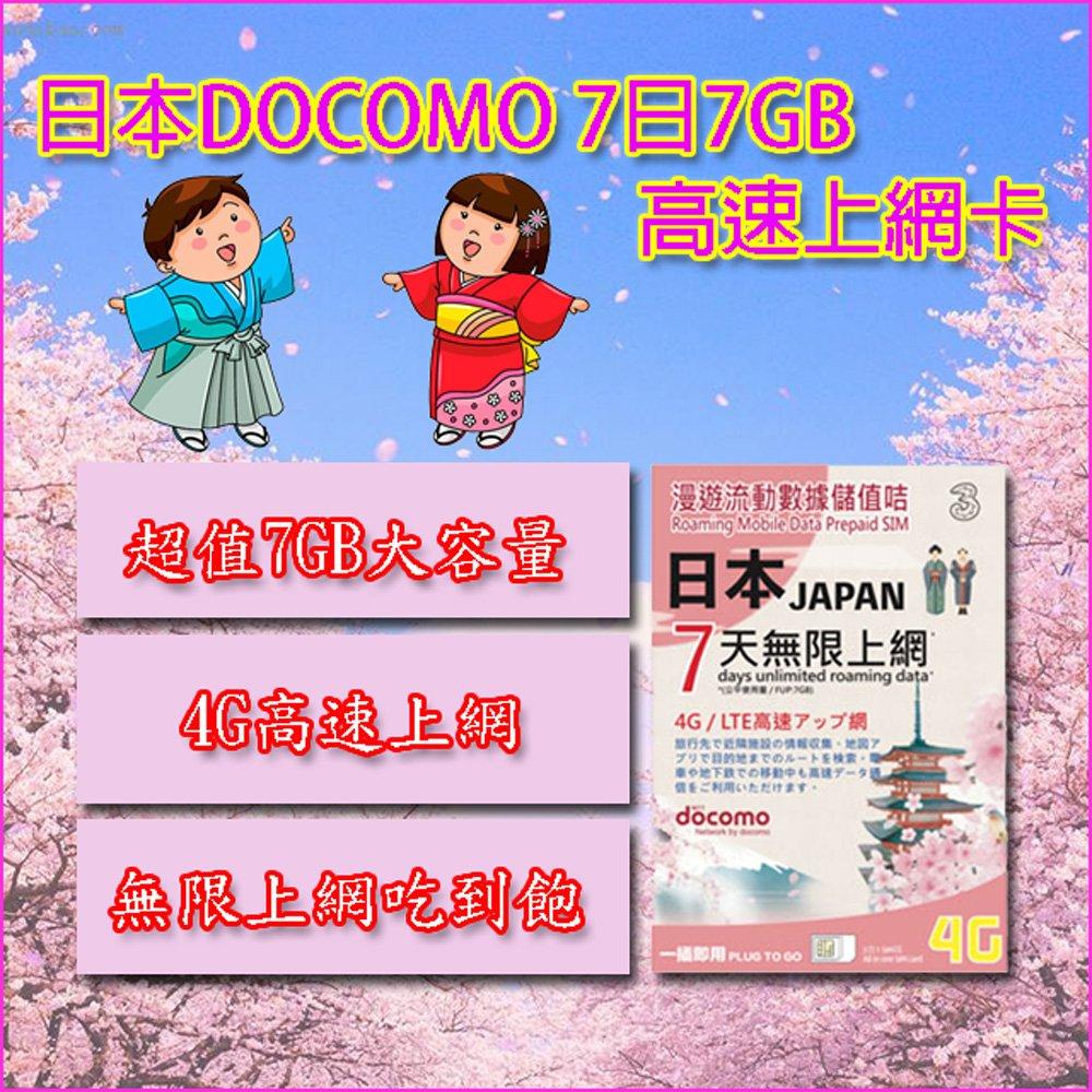 日本DOCOMO 7天 7GB流量 4G高速 無限上網吃到飽上網卡
