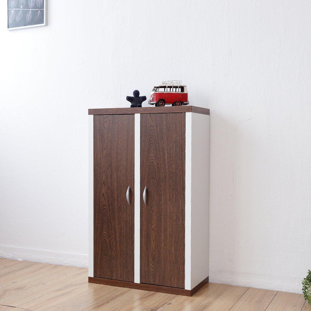 《Accessco》日系雙色六格二門厚板收納書櫃[胡桃白]