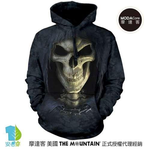 摩達客預購美國The Mountain 大死神臉 環保藝術長袖連帽T恤