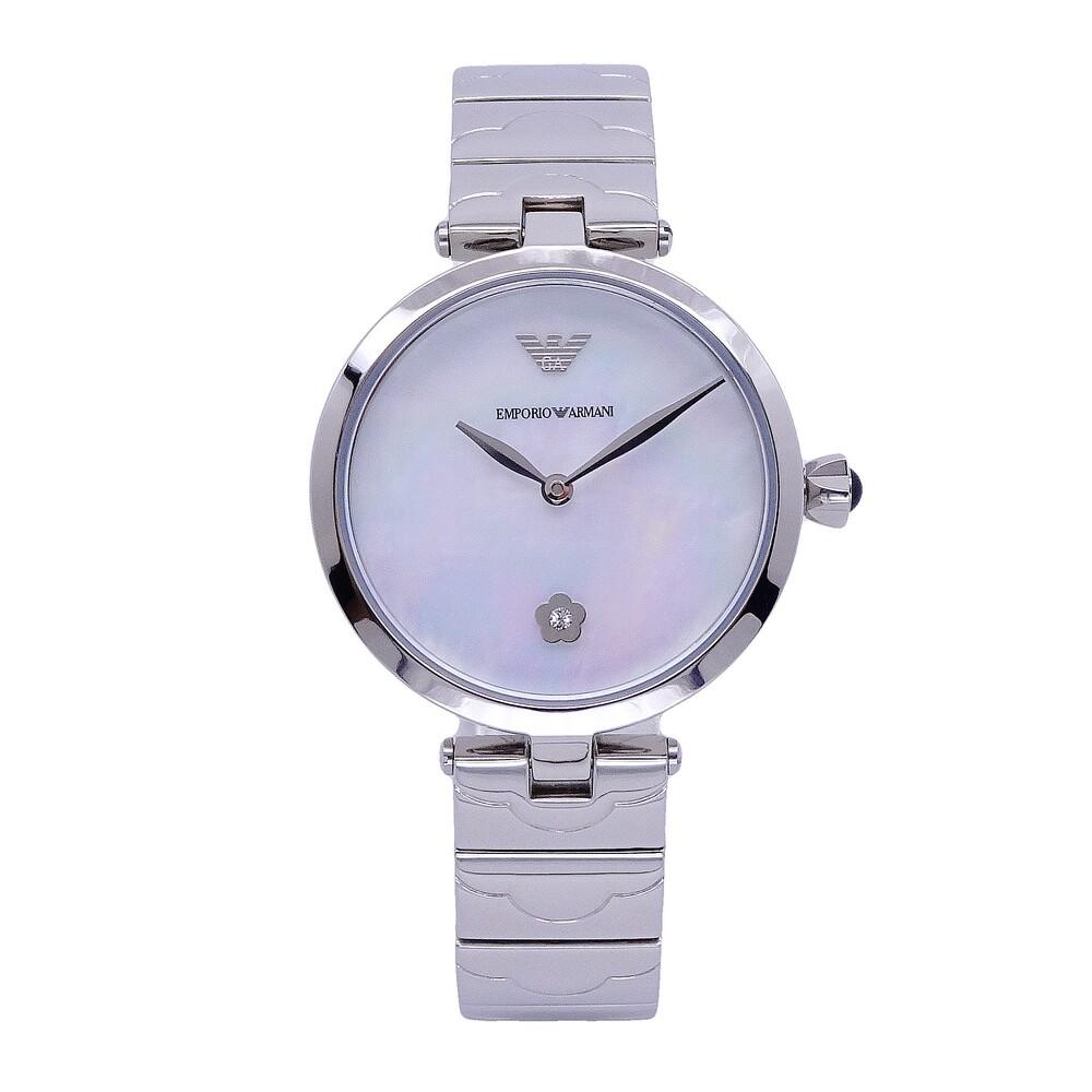 armani 柔美風格的呈現時尚母貝優質腕錶-銀色-ar11235