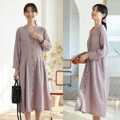 21支經緯紗色織亞麻薄霧紫洋裝風衣-設計所在