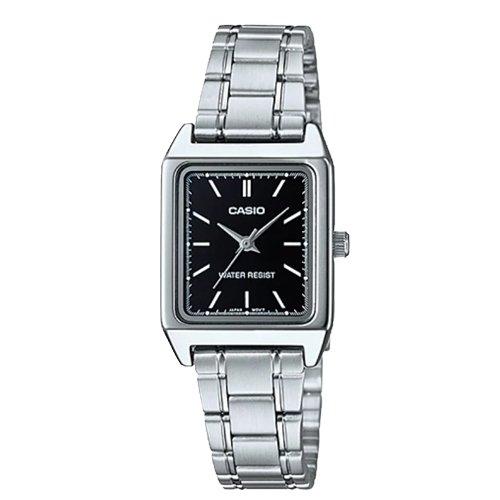 【CASIO 卡西歐】方形指針女錶 不鏽鋼錶帶 防水  LTP-V007D-1E