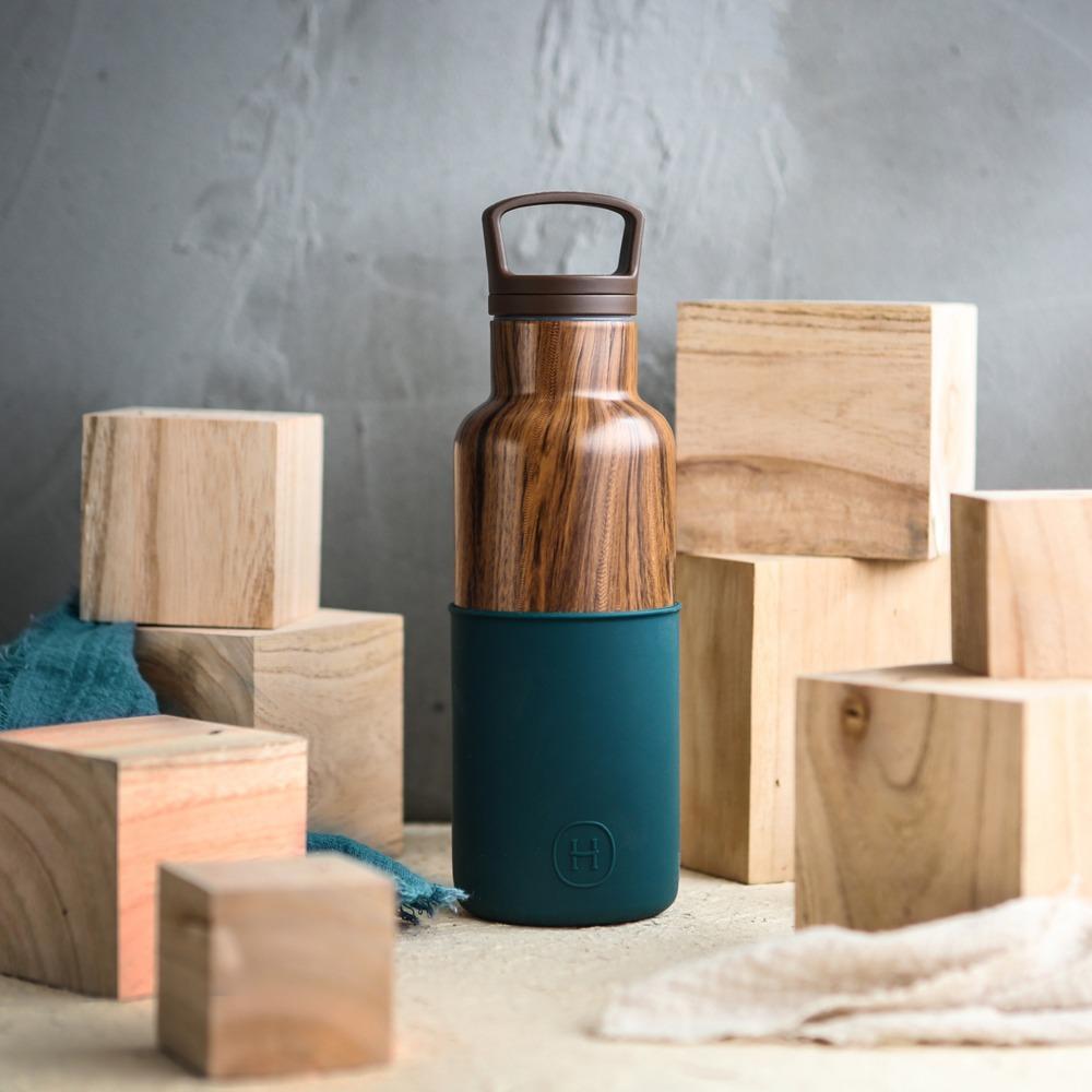 ★快速到貨★美國HYDY|CinCin Déco Collection 孔雀綠-木紋瓶 480 ml