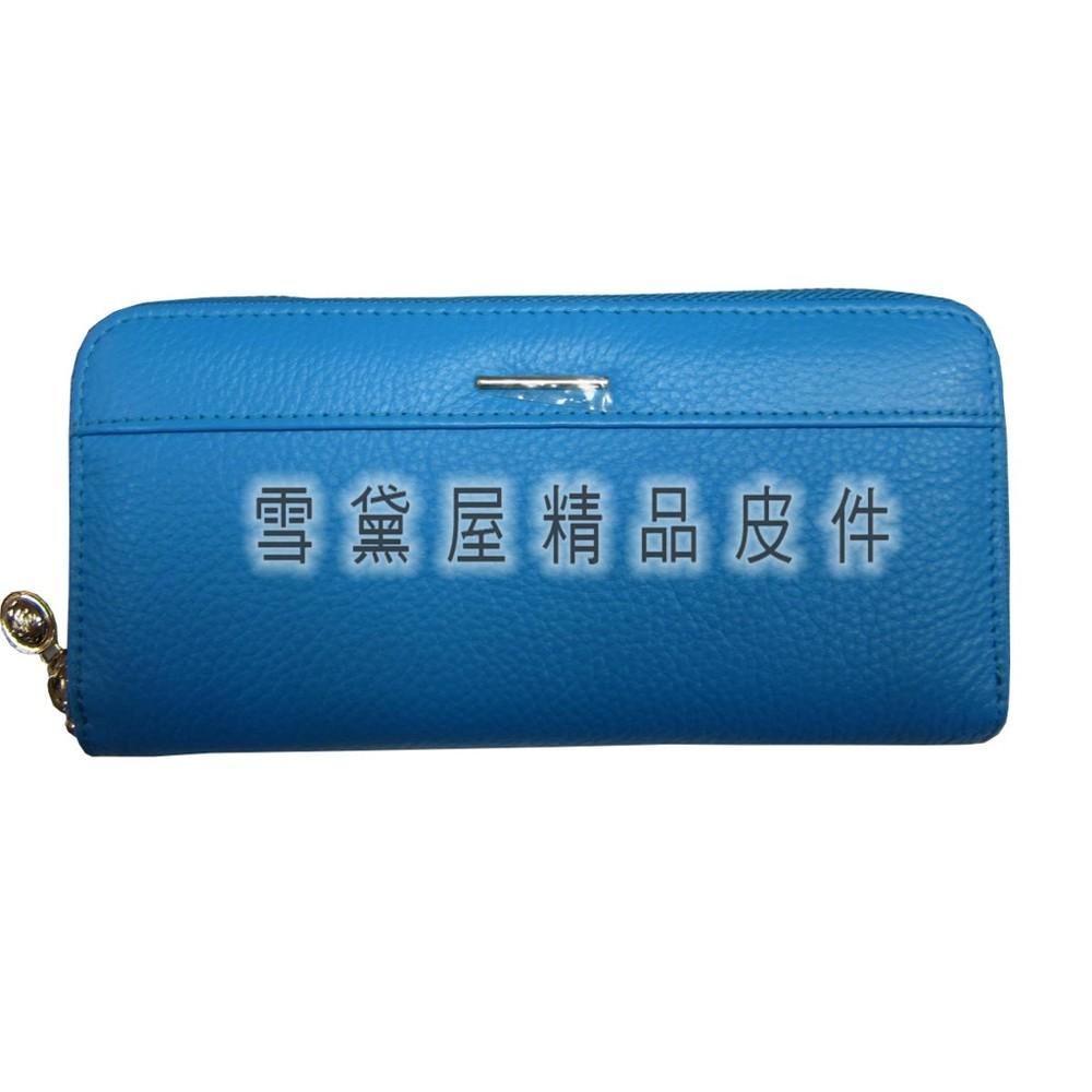 ~雪黛屋~itali duck 長夾u型包覆拉鍊型主袋專櫃100%進口牛皮革台灣製造品質保證大容量不