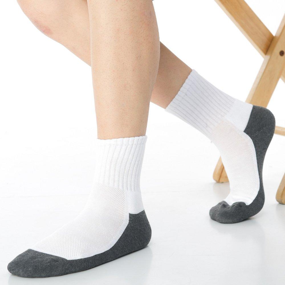 【KEROPPA】可諾帕細針毛巾底5比1氣墊1/2男短襪x3雙C91006-A白深灰