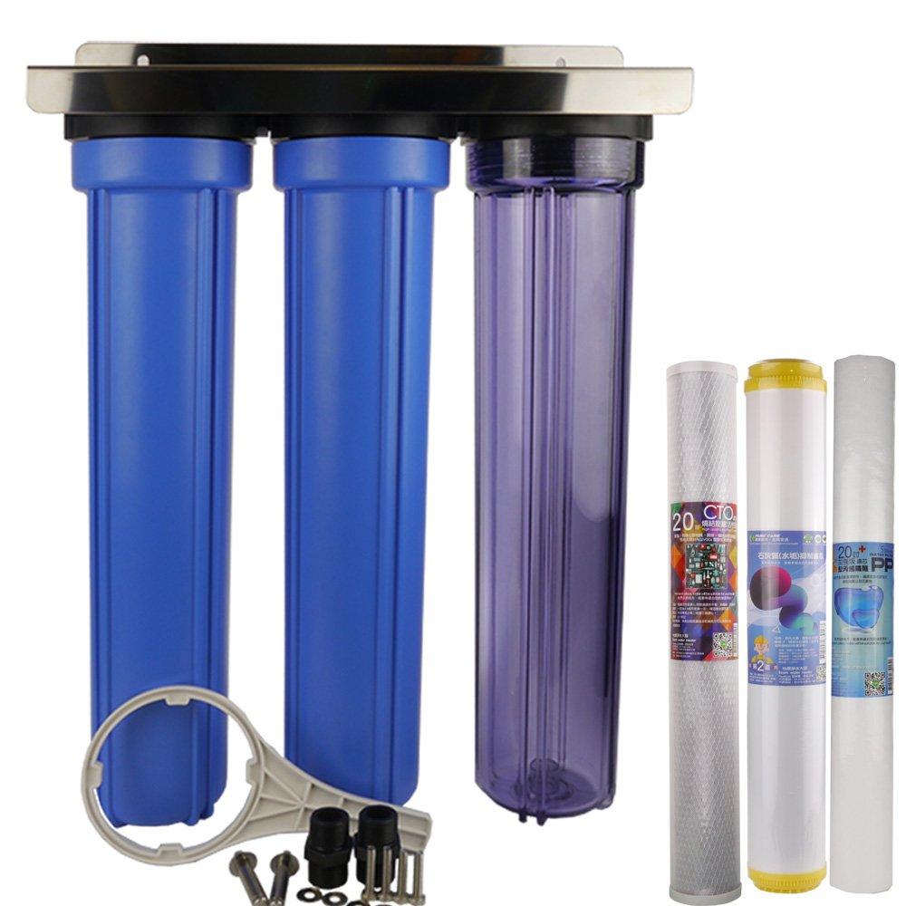 20吋小胖標準三道濾殼吊片組(透明)含抑止水垢濾心組