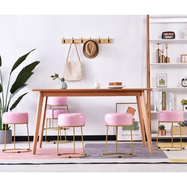 家用凳子鐵藝小圓凳皮藝板凳時尚餐凳簡約換鞋凳創意圓凳子化妝凳