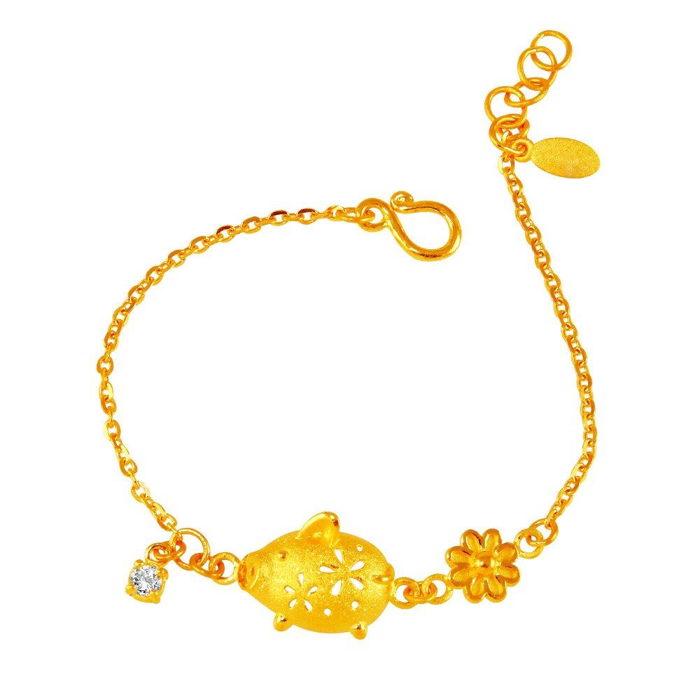 甜蜜約定金飾-花漾豬-黃金手鍊(小孩版)