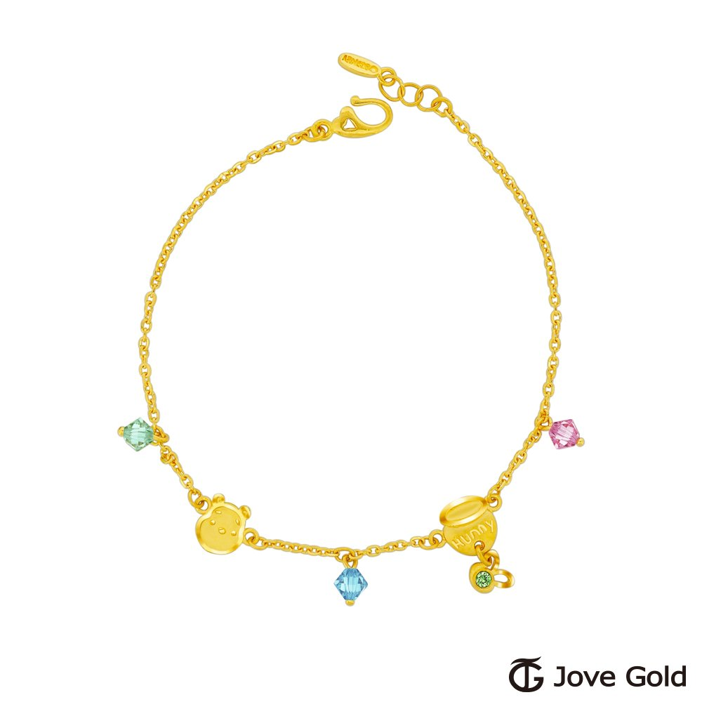 Disney迪士尼系列金飾 維尼系列-維尼一窩蜂黃金/水晶手鍊