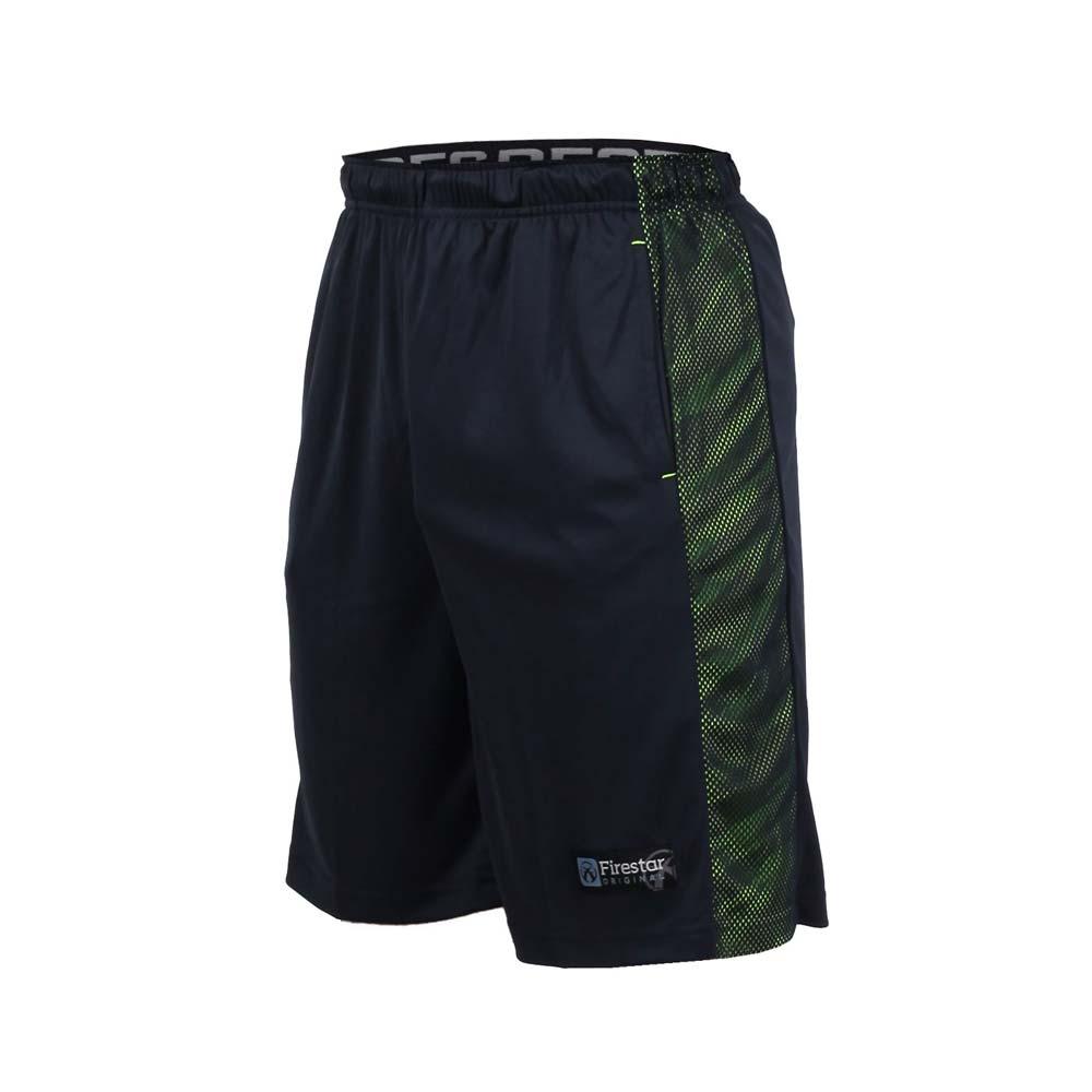 FIRESTAR 男籃球短褲-慢跑 路跑 深藍螢光綠